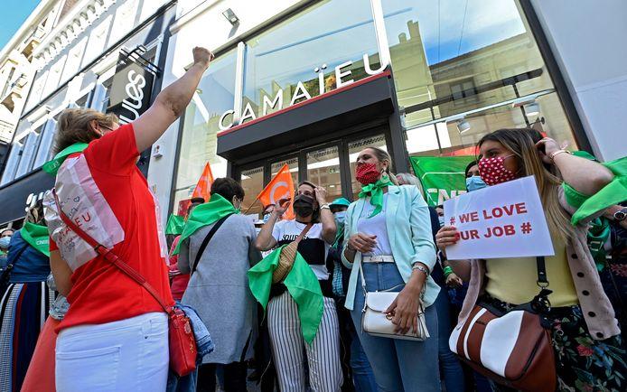 Werknemers  van Camaïeu bij een staking vorige maand.
