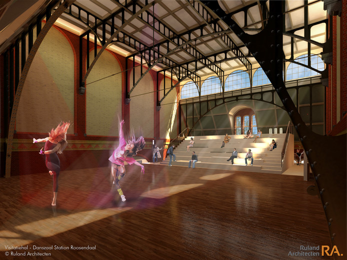Een impressie van hoe de danszaal zou worden na de verbouwing.