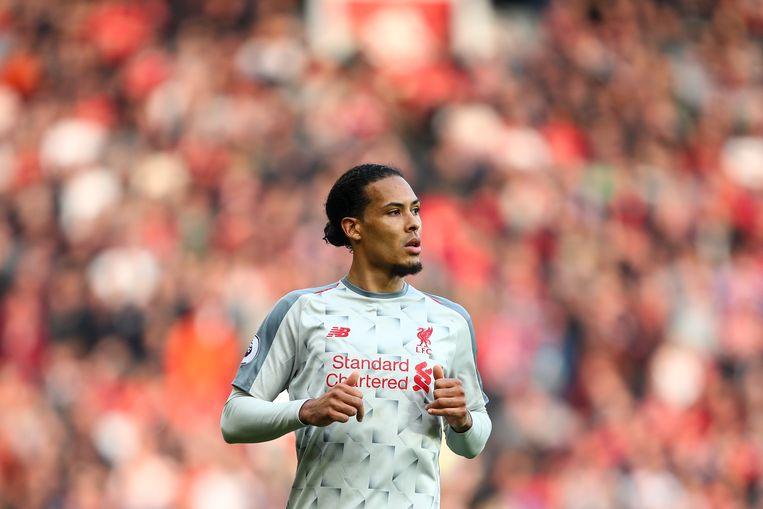Virgil van Dijk tijdens de Premier League wedstrijd tussen Manchester United en Liverpool FC. Beeld Getty Images