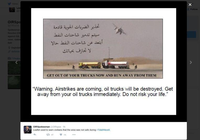 De flyer die door de Amerikaanse vliegtuigen wordt gedropt. Beeld afp
