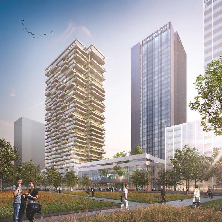 Het Maritim-complex. Rechts de 110 meter hoge hoteltoren met daaronder het congrescentrum. Op het dak komt een binnentuin van Piet Oudolf. Links komt een appartementencomplex. Beeld Team V