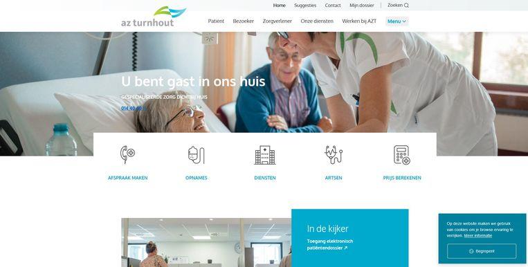 Een screenshot van de nieuwe website van AZ Turnhout