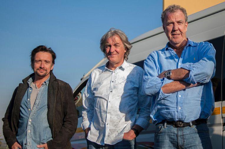 Richard Hammond (links) met collega James May en Jeremy Clarkson.