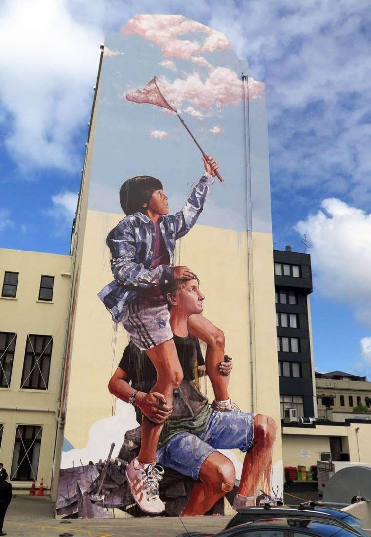 Een muurschildering van Australiër Fintan Magee in Nieuw-Zeeland. De kunstenaar zal ook Oostende aandoen.