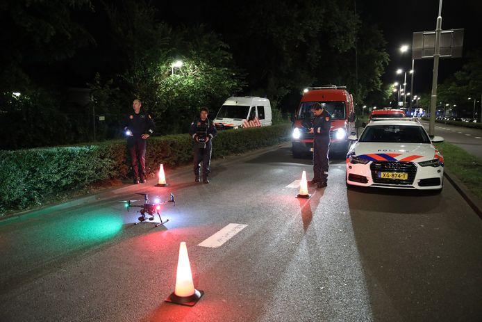 Hulpdiensten zochten met een drone boven de Gordelweg naar aanwijzingen.