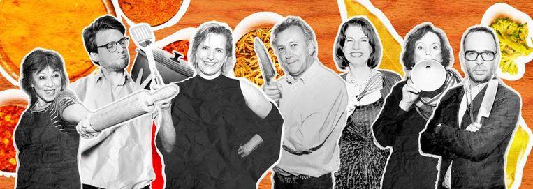 De Volkskeuken-chefs. Van links naar rechts: Pay-Uun Hiu, Sake Slootweg, Tallina van den Hoed, Onno Kleyn, Loethe Olthuis, Marie Louise Schipper en Marcus Huibers. Beeld Studio V
