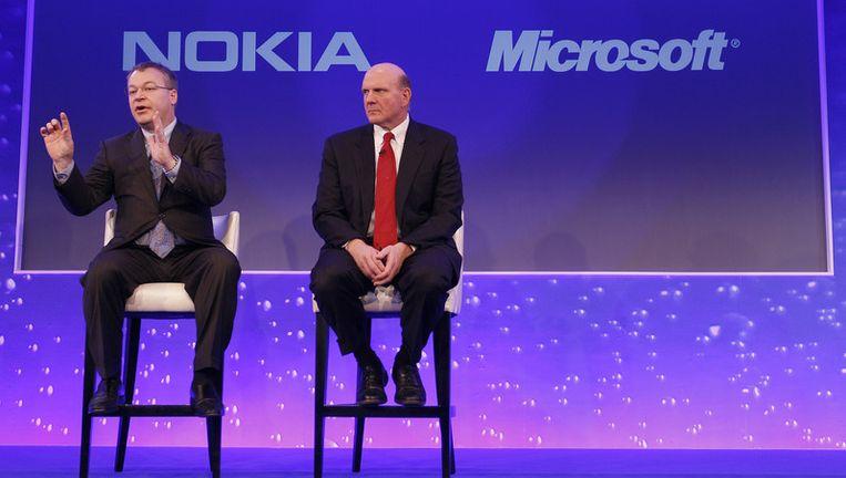 De topmannen van Nokia en Microsoft. Beeld ap