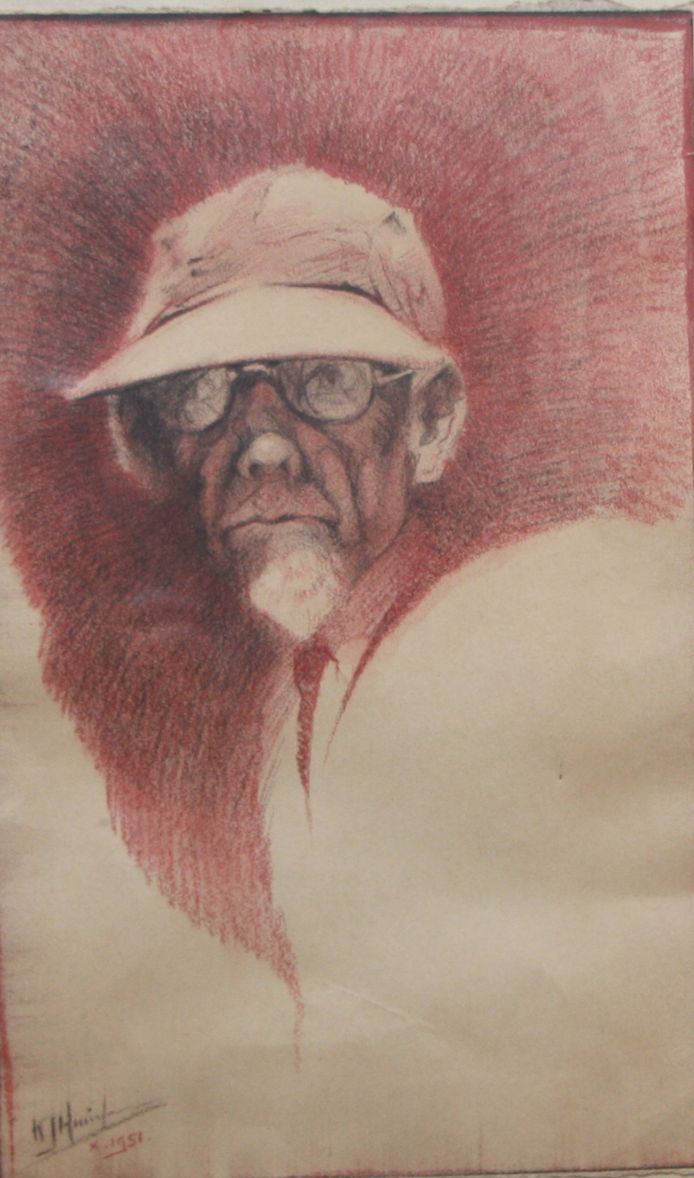 K.J. Huineman: Zelfportret, conté (krijt) 1951.