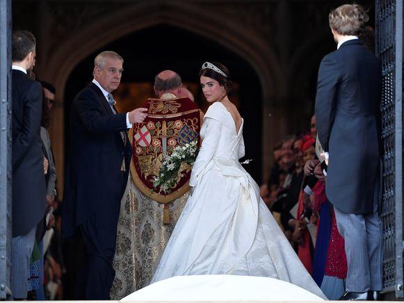 Prinses Eugenie in een trouwjurk van Belgische makelij.