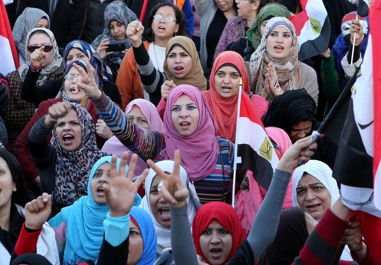Vrouwen demonstreren op het Tahrirplein Beeld EPA