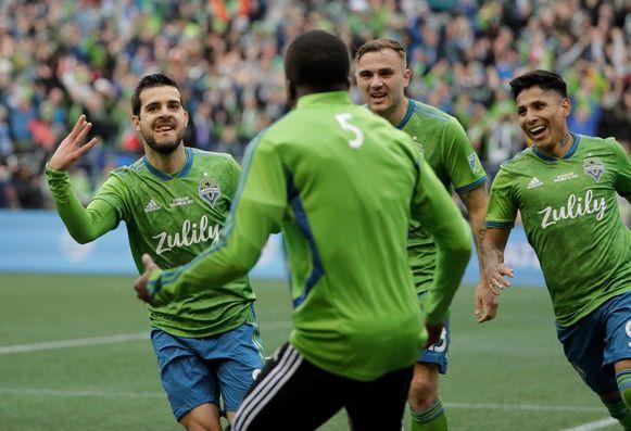 Victor Rodriguez (l) aan het feest na zijn doelpunt in de MLS-finale.