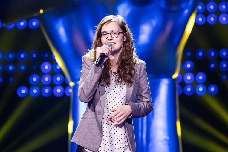 Tineke tijdens haar performance.