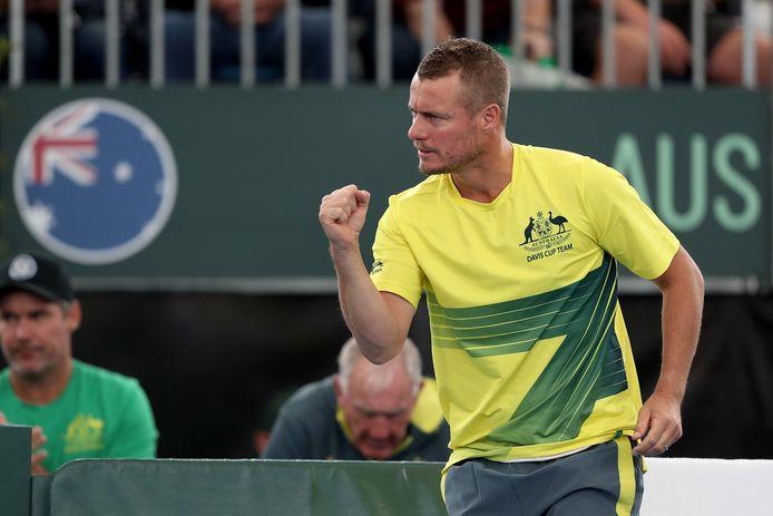Lleyton Hewitt juicht, als coach van het Australische Davis Cup-team.