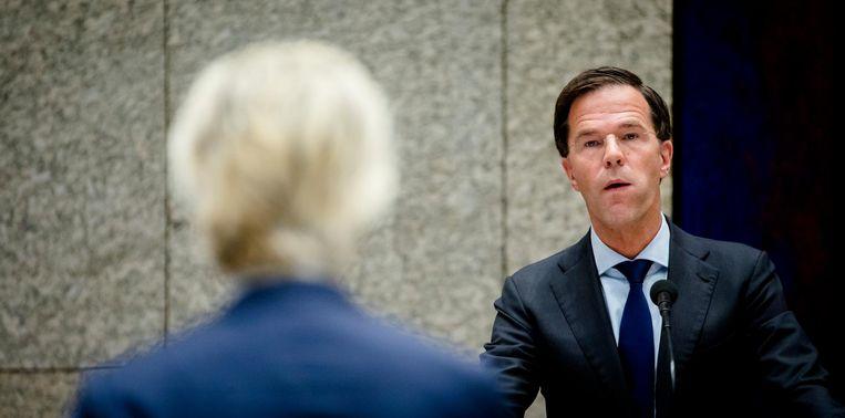 Premier Mark Rutte in debat met PVV-fractievoorzitter Geert Wilders. Beeld ANP