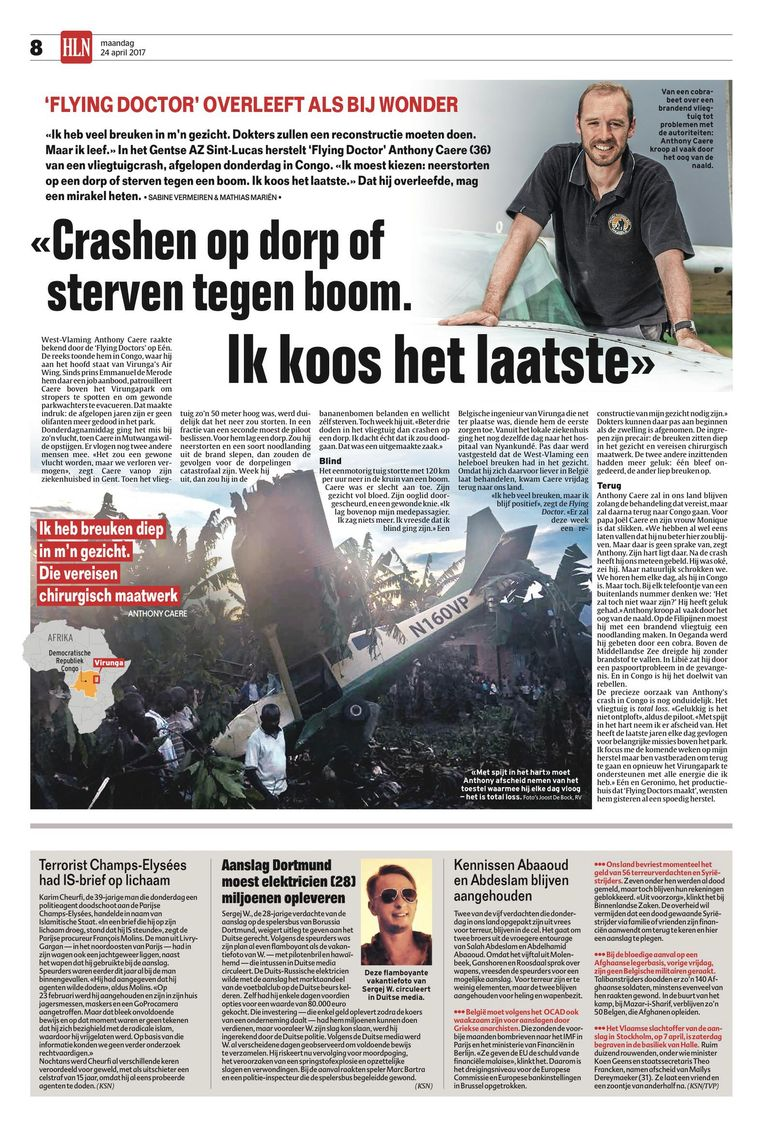 Het artikel dat na het ongeval in onze krant verscheen.
