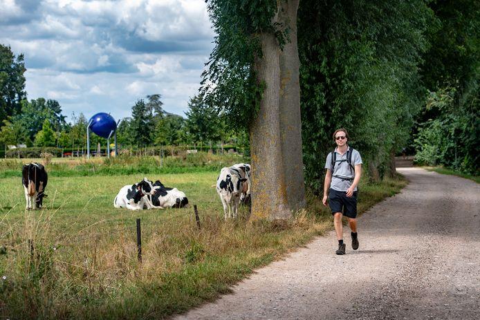 Pieterpad-loper op de Hoefseweg in Millingen.