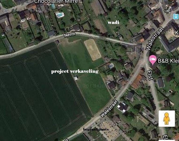 De inplanting van de verkaveling (google maps)