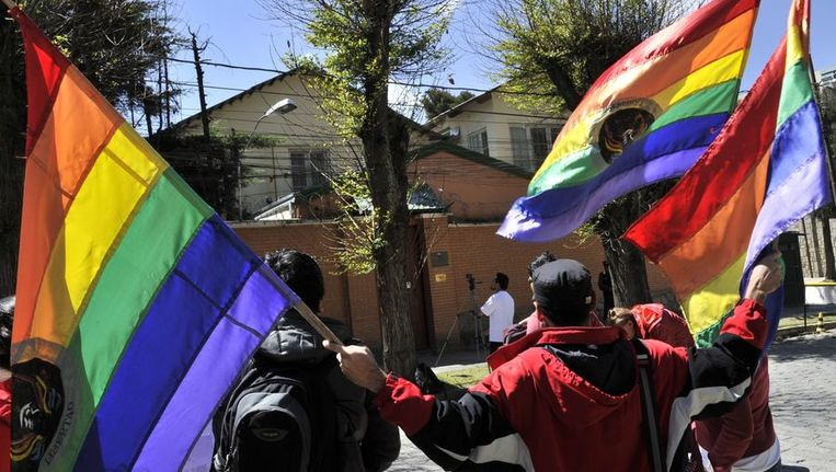 Anti-Rusland-protesten in Bolivia Beeld afp
