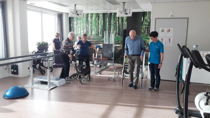 Werken aan herstel in de oefenzaal van Schakelring Revalidatie, rechts fysiotherapeut Betty Didden.