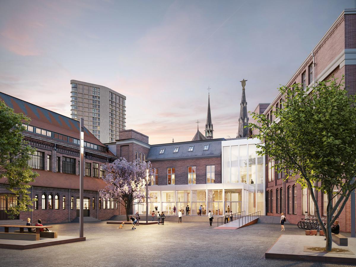 De entree aan het binnenplein van Mariënhage in Eindhoven, aan de Dommelkant. Duidelijk zichtbaar is de 'Knoop', het lichte pand dat de vijf monumentale delen verbindt. Hier komen ook terrasjes en bomen.
