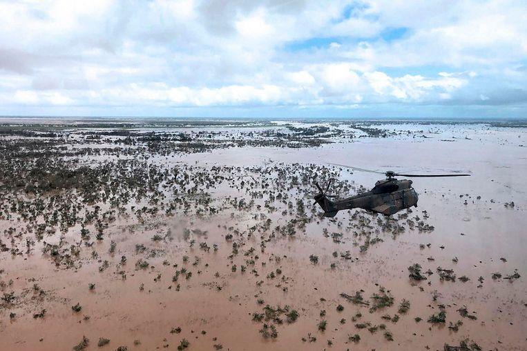 Een door cycloon Idai getroffen gebied in Mozambique. Beeld AFP