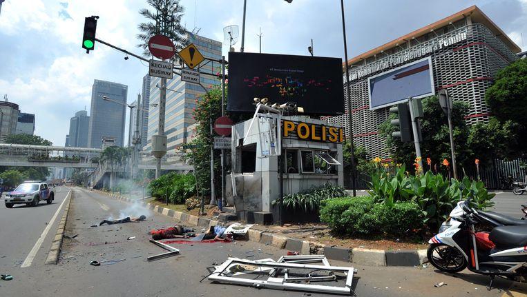 Een beeld van het getroffen politiegebouw. Beeld EPA