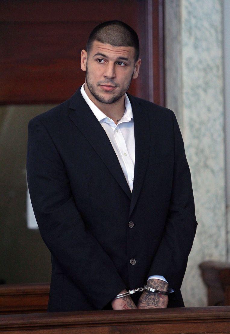 Hernandez in juli 2013, moest terechtstaan in de rechtbank voor de moord op Odin Lloyd