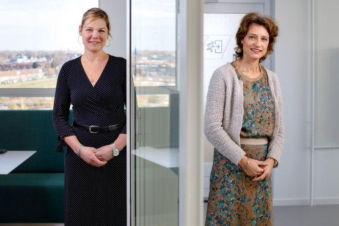 De top van de GGD Hart voor Brabant, met Karin van Esch (rechts) die als directeur afscheid neemt en Thérèse Claassen (links) die vanaf 1 december waarnemend directeur is.