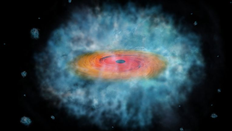 Illustratie van een superzwaar-zwart-gat-in-wording. Beeld null
