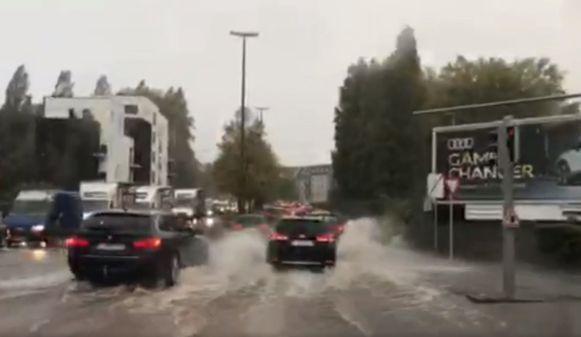 Wateroverlast in Anderlecht.