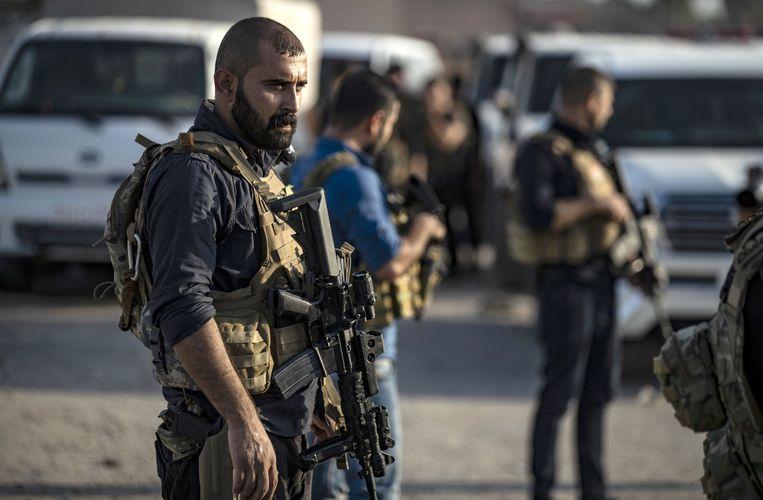 Leden van de SDF bij de Noord-Syrische stad Hasakeh.