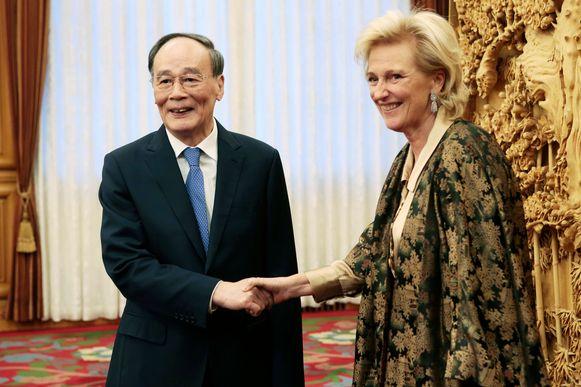 De Belgische prinses Astrid ontmoette maandag de  Chinese vicepresident Wang Qishan.