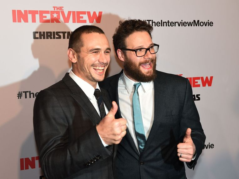 James Franco (links) en Seth Rogen tijdens de première van The Interview. Beeld afp