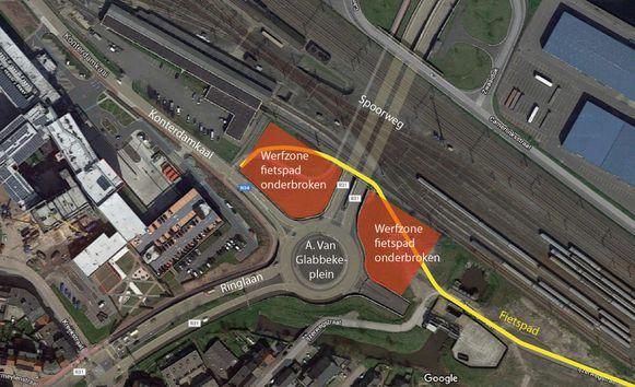 De fietstunnel tussen AZ Damiaan en de blauwe bruggen zal een tijdlang gesloten worden voor werkzaamheden