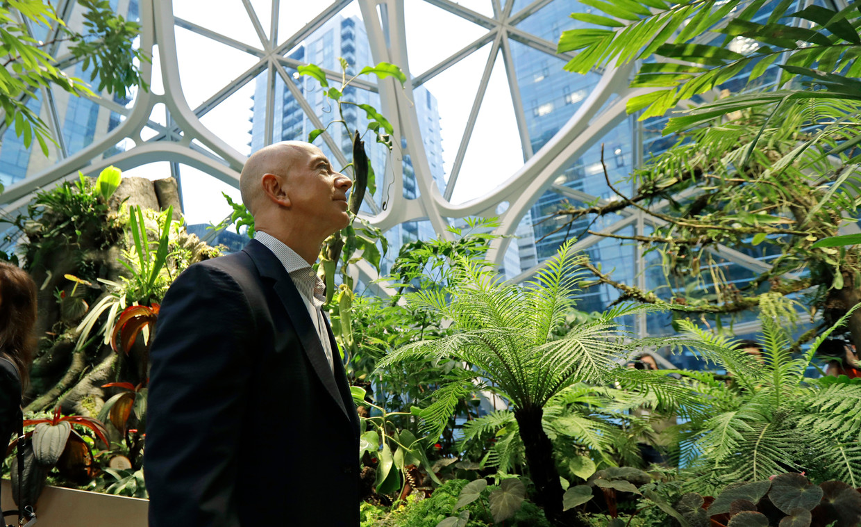 Amazonbaas Jeff Bezos, wandelt door een van de gigantische serres in zijn hoofdkantoor in Seattle.