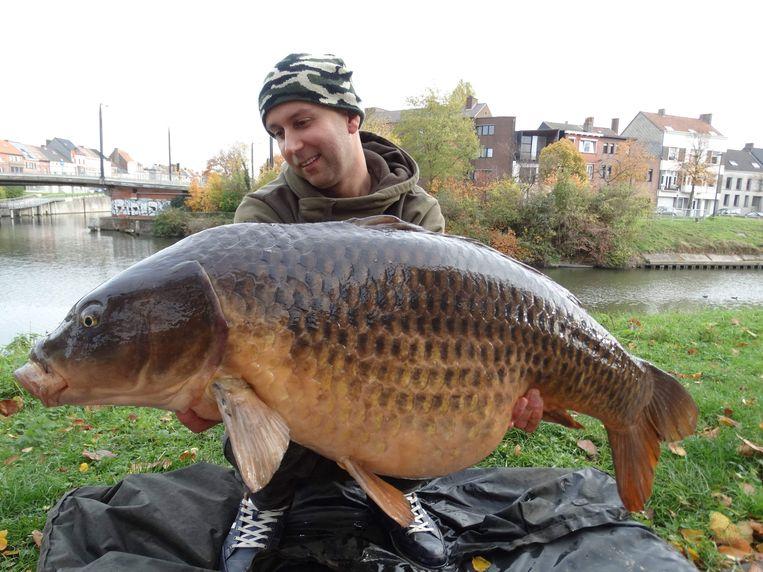 Dimitri Verschaeve met zijn karper van 20 kilo zwaar die hij gevangen heeft aan Palinghuizen.