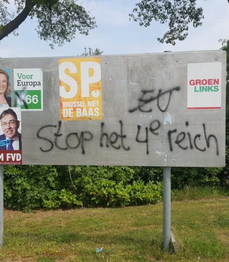 Onbekenden plaatsen Anti-Europa leuzen in Dukenburg en Malden: 'Stop het vierde Reich'
