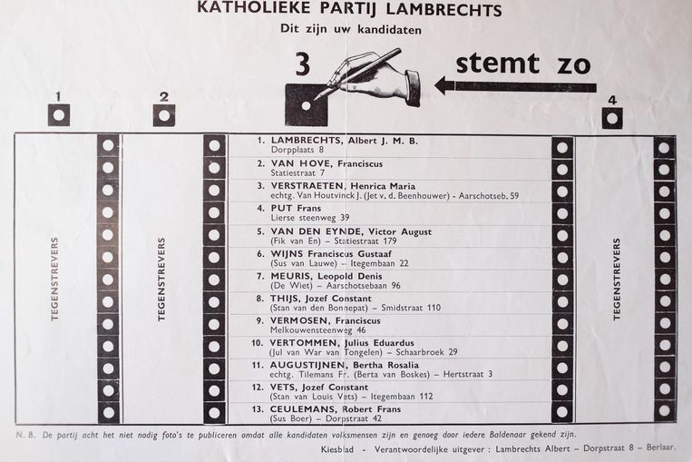 Vroeger prijkt vaak de bijnaam van de kandidaat op het stempamflet.