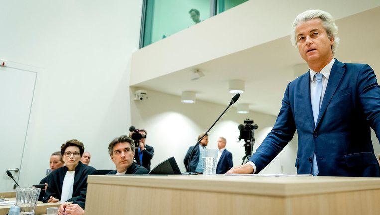 Wilders sprak tijdens het proces de rechtbank toe op een zittingsdag in november. Beeld anp