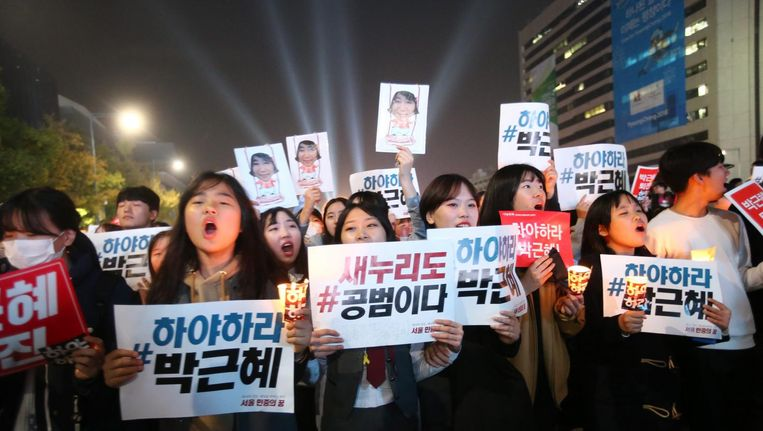 Betogers in Seoul. Beeld epa