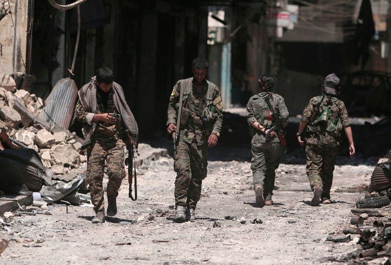 De Syrische strijdkrachten in Manbij.