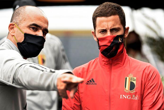 Roberto Martínez et Eden Hazard.