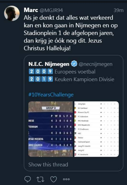 In een eerdere tweet is de vergelijking tussen de stand in de UEFA Cup en de stand in de eerste divisie te zien.