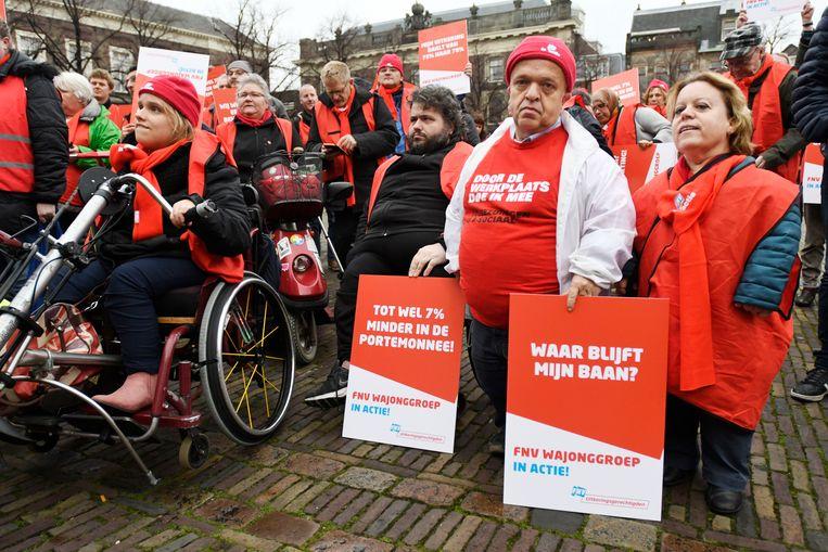 Protest in Den Haag in november 2017 tegen de korting op de Wajong-uitkering. Beeld null
