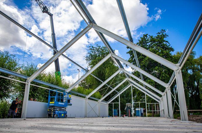 De bouw van het museumdepot vordert gestaag.