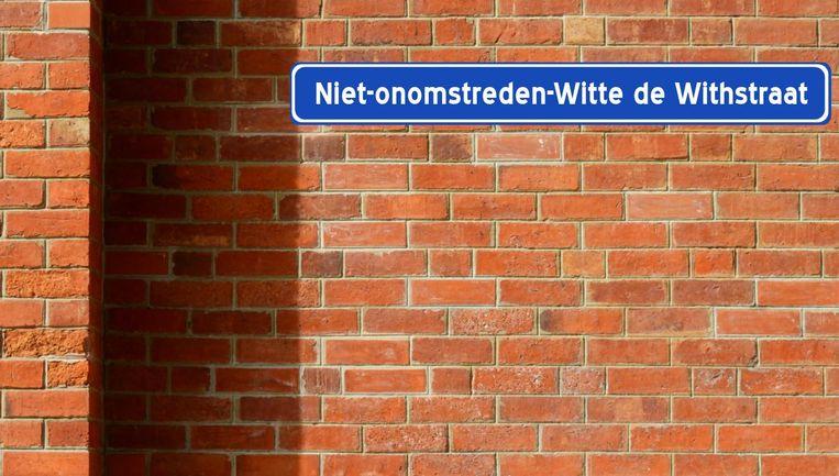 De nieuwe naam van de Witte de Withstraat in Rotterdam. Beeld