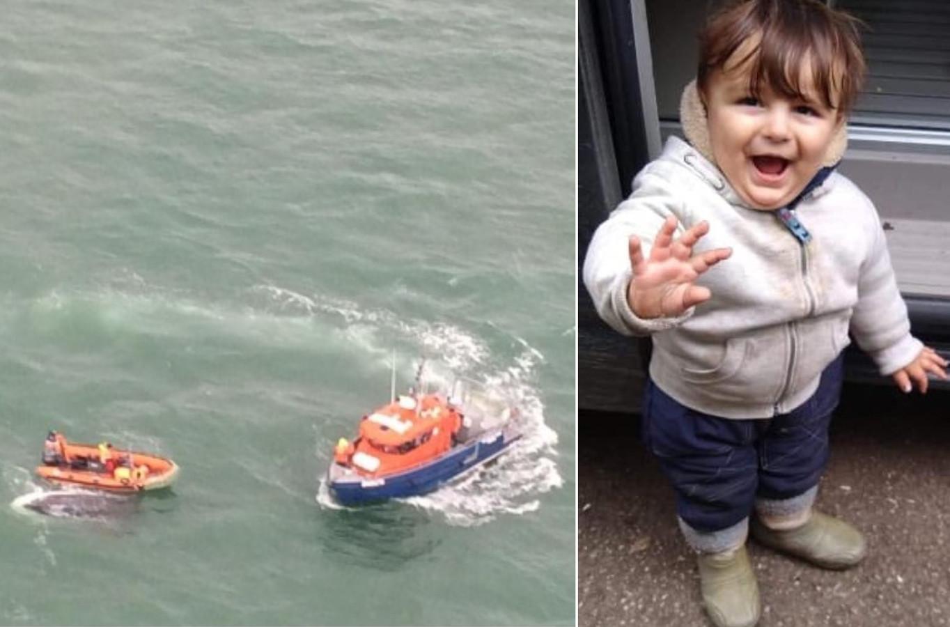 Het vijfjarige jongetje Artin dat verdronk tijdens de oversteek naar Engeland en een overzichtsbeeld van de reddingsactie.