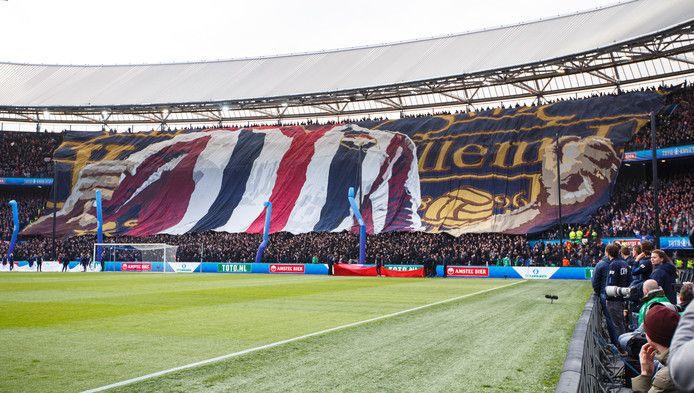 Het spandoek van Tilburg Tifosi tijdens de bekerfinale tegen Ajax in de Kuip.