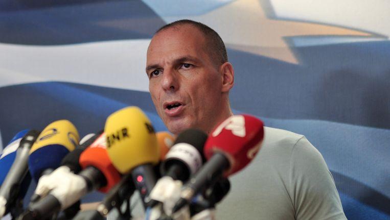 Varoufakis, hier nog bij een persconferentie zondag. Beeld ap