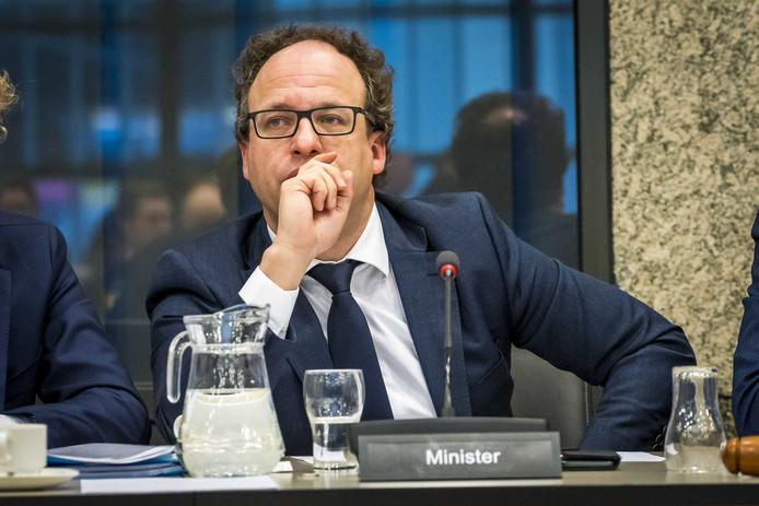 Minister Wouter Koolmees van Sociale Zaken tijdens een debat over het pensioenstelsel.